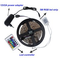 Wholesale Led Power Supply 12v 5w - Led strip light DC12V 60led M SMD3528 not waterproof led bar light 5M Red white yellow blue green RGB + 24key controller + power supply