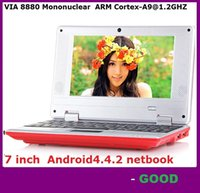 7-Zoll-Mini Netbook VIA 8880 512MB RAM 4GB ROM Android 4.4.2 1GB 8GB Notebook WiFi HDMI Webcam Laptop DHL FREE