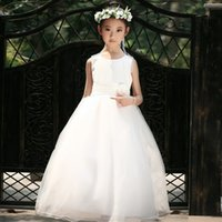 Wholesale Embellished Wedding Dresses - Summer New Sleeveless Cotton Boutique Girl Dress 3D Flowers Embellished Belt Wedding Flower Girl Dress Plus Size 3T-12T