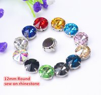 Wholesale 12mm Rivoli Crystal Wholesale - free shippment!50 pcs lot 12mm Rivoli Round Sew On button Glass Crystal Stone beads with metal claw setting for diy garment