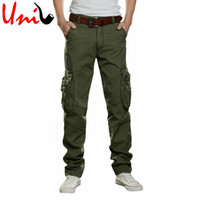 Wholesale Khaki Overalls Men - Wholesale-Big Size 28-42 2016 Men's Army Green Cargo Full Pants Black Khaki Straight Casual Overalls Regular Trousers For Man YN371