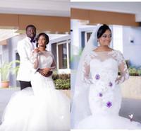 ingrosso vestito di autunno di formato 16-Abiti da sposa a sirena con maniche lunghe, abiti da cerimonia per matrimoni e abiti da cerimonia