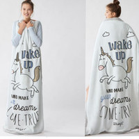 Wholesale Girls Car Beds - 150*120CM Unicorn blanket cute cartoon boy girl Wake Up baby blankets manta winter bedding car-covers baby horse warm swaddling KKA2853