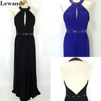 Wholesale Discount Pageant Prom Dresses - Discount Halter Beaded Backless Pleats Sexy Senior Prom Gown 2017 Long Cutout A Line Ruched Red Carpet Celebrity Pageant Dress Lewande 50089