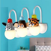 appliques murales pour enfants achat en gros de-Créatif chevet cartoon enfants chambre décoration animal personnalité garçon fille LED bébé chambre belle lampe murale