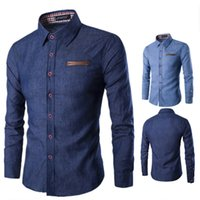 modelos de camisa slim fit al por mayor-Nueva marca de moda para hombres Camisa de pelea de bolsillo Camisa de vestir de manga larga Camisa de manga larga Camisa masculina Casual Camisas masculinas Modelo