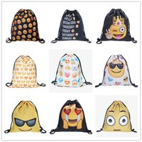 Wholesale Womens Back Packs - emoji Drawstring Backpacks 3D printing School Backpack Men Women Bagpack Shoulder Bags Shopping Shopper Bag womens Back Packs Bookbags new