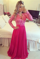 Wholesale Modest Long Prom Dresses - Fuchsia V Neck Modest Prom Dresses With Long Sleeves Lace Chiffon A-line Seniors Formal Evening Party Dresses Pearls Floor Length Prom Gowns