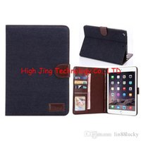 Wholesale Money Wallet China - Denim jean Wallet Leather Stand with credit Card Money slot Cover for Apple ipad MINI 2 3 4 retina wallet stand flip cover