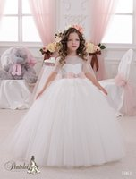 Wholesale Wedding Ballgown Short Sleeve - 2016 Miniature Bridal Dresses with Jewel Neck and Short Sleeves Appliques Tulle Ballgown First Communion Gowns for Girls