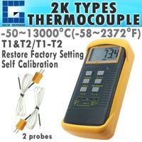 Wholesale Thermometer F Degrees - 68022 Digital Thermometer 2 K-Type Metal Thermocouples Probe Sensor -50 ~ 1300 degree C (-58 ~ 2372 degree F) Range