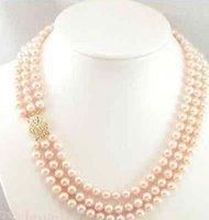 """Wholesale Triple Strand Pearl Necklace 19 - AAA triple strands 9-10mm round south sea gold pink pearl necklace 18""""19""""20"""" 14K gold clasp"""