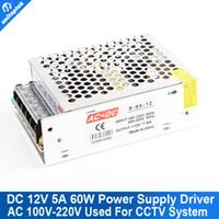 Wholesale Power Supply Input Dc - Mini House 12V 5A 60W DC Switching CCTV Power Supply Transformer AC 100V-220V Input With 1Ch Output For LED CCTV Camera DVR