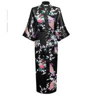 Wholesale Chinese Woman Sexy Lingerie - Wholesale-Hot Sale Black Femmes Rayon Robes Gown Kimono Yukata Chinese Women Sexy Lingerie Flower Sleepwear Plus SizeS M L XL XXL XXXL