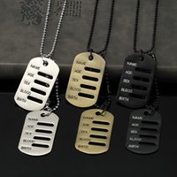 Wholesale Cards Dogs - Mens Jewelry Necklace Card Fashion Jewelry Military Tag Pendant Punk Stainless Steel Beads Chain 70cm Long For Men
