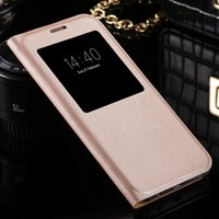 Wholesale Original View Cover - S7 S7 Edge Leather + Hard PC Hybrid Ultra Flip Smart Sleep Case For Samsung Galaxy S7   S7 Edge Original View Window Phone Cover