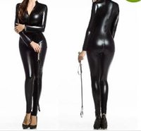Wholesale Wetlook Bondage - Sexy Women Faux Leather Metallic PVC Fetish Gothic Catsuit & Bodysuit Wetlook Latex Jumpsuit Bondage Harness Costumes