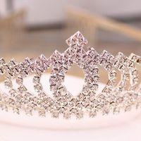 Wholesale Stoned Hair Bow Wholesale - W001 Sparkle Beaded Crystals Wedding Crowns 2016 Bridal Crystal Veil Tiara Crown Headband Hair Accessories Party Wedding Tiara 10 pcs a set