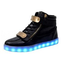 Wholesale Rechargeable D - 7 Colors Unisex Led Luminous Light Shoes Men Women Fashion USB rechargeable Light Led Shoes for Adult Black White 36-44 NX4008 free shipping