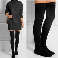 düz diz önyükleme siyahı toptan satış-Siyah / gri süet deri slim fit uyluk yüksek çizmeler bahar güz düz bootswomen diz boots ayakkabı üzerinde