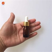 Vente en gros- Vente en gros 5ml Amber Glass Reagent Liquid Pipette Bouteille Eye Dropper Drop Aromatherapy 24pcs / lot