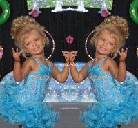 mavi yürümeye başlayan çocuk cupcake pageant elbiseler toptan satış-Işık Sky Blue Kısa Glitz Halter Kristal Şeker ile Küçük Kızlar Pageant Elbiseler Elbiseler Yürüyor Çocuk Ritzee Kız Cupcake Törenlerinde 2019