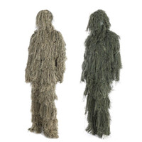 Wholesale hunting clothes green - 3D Universal Camouflage Suits Woodland Clothes Adjustable Size Ghillie Suit For Hunting Army outdoor Sniper Set Kits