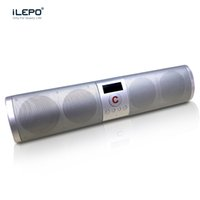 Barato Mini Levou Display Bluetooth-3D Hifi Bluetooth Sound Bar Alto-falante sem fio com subwoofers duplos Suporte TF Card U Chamadas de disco Função Aux LED Display Stereo Music Player