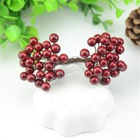 25pcs / 50 Heads 0.7cm Mini frutta falsa piccole doppie teste Bacche artificiali fiore ciliegia Stamen Wedding Christmas Decorative