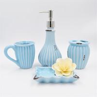 decoração cromada venda por atacado-Acessórios de banho de banho requintado retro Oceann estilo europeu azul saboneteira titular escova de dentes acessórios de decoração do banheiro