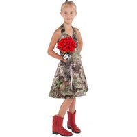 Wholesale Little Girls Formal Dresses Wholesale - Camo Cute Cheap Little Flowers Girls Dresses 2018 Halter Knee Length A line Kids Formal Wear 2018