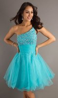 Wholesale Tassel Dress Homecoming - New Designer A Line One Shoulder Tulle Beaded Crystals Homecoming Dress Popular Bridesmaid evening dress Bridal party dress Prom gown