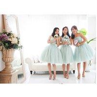 Wholesale Light Pink Women S Dresses - 2016 Women wedding guest dress A-line mint bridesmaid dresses in lavender Backless Strapless Short Tulle Cheap evening dressess 2017 QW726