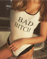 Wholesale Cheap Women Piece Suits - BAD BITCH Printed White Swimwear One Piece Swim,Women Fashion Bodysuits,Kanye West Swimming Suit,Summer Beach Bodysuit,FREE SHIPPING CHEAP