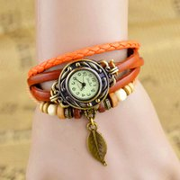 Wholesale Pendant Bracelet Dhl - DHL UPS TNT Free Shipping High Quality Women Genuine Leather Vintage Watch, Leaf Pendant bracelet Wristwatches For Xmas Gift jewelry
