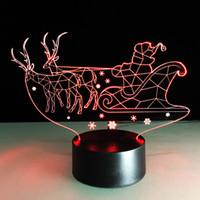 Wholesale Santa Claus Candles - 2016 Santa Claus Deers 3D Optical Illusion Lamp Night Light DC 5V USB AA Battery Wholesale Dropshipping Free Shipping Retail Box