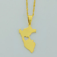 Wholesale Map Middle - Peru Map Pendant Necklaces for Women Men 18k Gold Plated Map of Peru Jewelry Peruvian Necklaces #006121