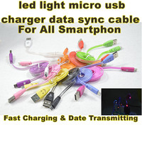 Wholesale Micro Usb Sync Data - Universal Micro USB LED Light usb sync data & charging cable For HTC for LG for Samsung Galaxy S3 S4 for sony for lenovo