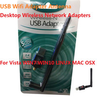 Wholesale Software Driver Wholesale - USB Wifi Adapter Antenna High fast Mini Wireless Network Adapters LAN Network Card Computer Software Driver for WIN8 WIN10 LINUX MAC iPad