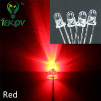 1000pcs / bag 3MM Round Top Red leds Urtal Bright Ampoule Led Lampe 3mm Emitting Diodes Composants électroniques Vente en gros Hot Sale