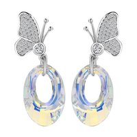 Wholesale Ear Stud Butterfly - Dangly Crystal Butterfly Stud Ear Mix Color Crystal from Swaroski Earrings For Lady 925 Siliver Color Zirconia Copper Jewelry Earrings