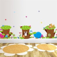 Wholesale Tree Life Decal - 100pcs owl rabbit aut flower tree wall stickers for kids room decoration small animal decals diy cartoon children wall 5.0 art cd004