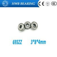 Wholesale thin wall ball bearings - Wholesale- Free shipping 3*8*4mm 693ZZ Miniature 693-2Z 693 ZZ Ball Bearings 619 3ZZ thin wall deep groove ball bearing 10pcs