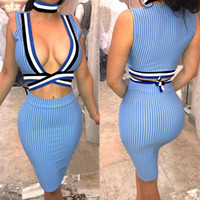 Wholesale Short Skirt Strips - European fashion stylish Sexy Women Crop Tops And Skirt 2 Piece Dress Suits Women Blue Strip Halter Lace Up Blouse And Knee Length Skirt