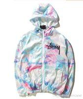 Wholesale Men S Ties Thin - designer tie-dye jackets for men women windbreakers hip hop outdoor sport bomber jacket streetwear thin windbreaker
