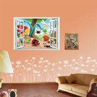 Wholesale Insects Wall Kids Decals - Cartoon Insects Family Window Sticker Nursery Wall Stickers For Kids Room Removable 3D Wall Decal Wall Poster 50*70cm