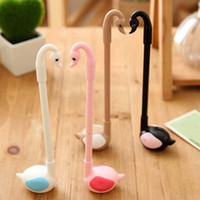 Wholesale Black Swan Free - Free Shipping 10pcs lot Seat Swan Shape Ball Point Pen Gel Pens Signing Pens Cute Prize Gifts Writing Supplies Novelty Pens Papelaria