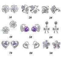 pernos prisioneros del diamante suizo al por mayor-30% 925 Pendientes de Plata Esterlina Para Mujeres Corte Suiza Austria Diamante Estilo de Cristal Pendiente de Plata Joyería de Alta calidad Envío Gratis