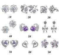 i̇sviçre elmas saplama toptan satış-30% Kadınlar Için 925 Ayar Gümüş Saplama Küpe Kesim İsviçre Avusturya Elmas Kristal Stil Gümüş Küpe Yüksek kalite Takı Ücretsiz Kargo