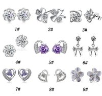 Wholesale Flowers For Cutting - 30% 925 Sterling Silver Stud Earrings For Women Cut Swiss Austria Diamond Crystal Style Silver Earring High quality Jewelry Free Shipping